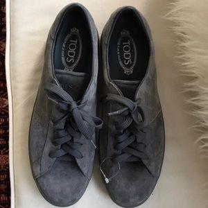 Unused Classic TOD'S Men's Suede Grey Shoes Sz 10